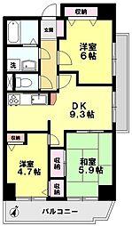 ISサンハウス 8階3LDKの間取り