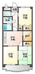 愛知県豊橋市東幸町字東明の賃貸アパートの間取り