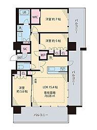 JR中央線 中野駅 徒歩6分の賃貸マンション 18階3LDKの間取り