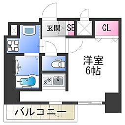 スプランディッド難波元町DUE 6階ワンルームの間取り
