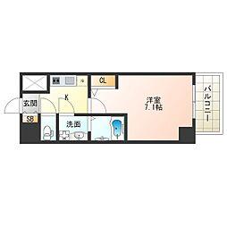 JR大阪環状線 福島駅 徒歩13分の賃貸マンション 3階1Kの間取り