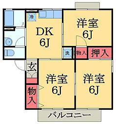 千葉県千葉市緑区おゆみ野4丁目の賃貸アパートの間取り