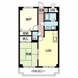 南海高野線 初芝駅 徒歩10分の賃貸マンション 2階2DKの間取り