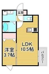 西鉄天神大牟田線 大橋駅 徒歩15分の賃貸マンション 4階1LDKの間取り