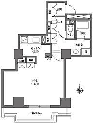 文京グリーンコート ビュータワー本駒込 14階ワンルームの間取り
