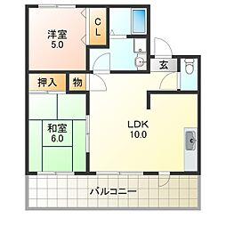 AKINAハイツII[2階]の間取り