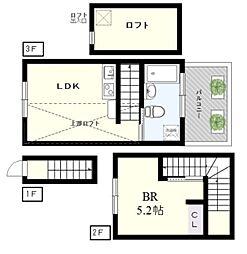 アウルズ・ハウス 1階1LDKの間取り