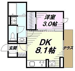 JR中央線 立川駅 徒歩11分の賃貸アパート 1階1DKの間取り
