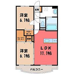 栃木県小山市犬塚1の賃貸マンションの間取り