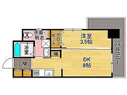 福岡県福岡市中央区今泉1丁目の賃貸マンションの間取り