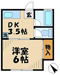 東京都多摩市永山1丁目の賃貸アパートの間取り