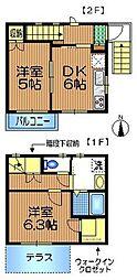 成城小松邸 2階2DKの間取り