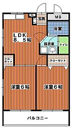 三愛室見マンション[405号室]の間取り