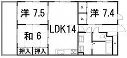 サニーヒル 2階3LDKの間取り