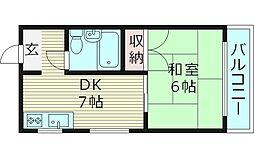 フラワーハイツ 4階1DKの間取り