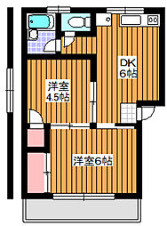 埼玉県和光市白子1丁目の賃貸マンションの間取り