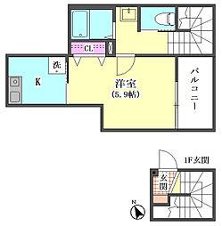 仮)大田区東矢口3丁目1410新築アパート[304号室]の間取り