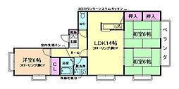 大阪府箕面市桜ケ丘2丁目の賃貸マンションの間取り
