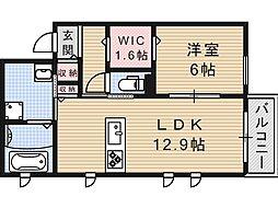 大阪府大阪市住吉区苅田7丁目の賃貸アパートの間取り