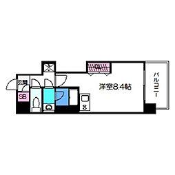 FRONT FIRLD Tennoji 11階ワンルームの間取り