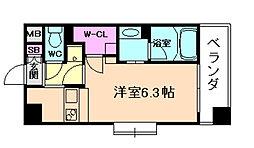 ゲートコート大阪福島 7階1Kの間取り