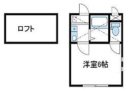 神奈川県伊勢原市池端の賃貸アパートの間取り