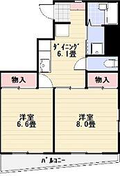 エマーレ上野松が谷[8階]の間取り