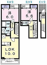 サニーサウス 2階2LDKの間取り