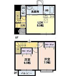 長野県上田市秋和の賃貸アパートの間取り