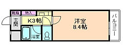 大阪府池田市井口堂3丁目の賃貸マンションの間取り