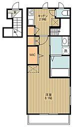 西武新宿線 新所沢駅 徒歩8分の賃貸マンション 2階1Kの間取り