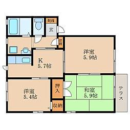 滋賀県守山市今宿2丁目の賃貸アパートの間取り