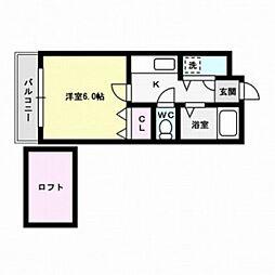 福岡県大野城市瓦田5丁目の賃貸アパートの間取り