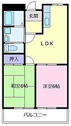 大阪府羽曳野市南恵我之荘4丁目の賃貸アパートの間取り