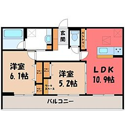 (仮)D-room石井町 F 1階2LDKの間取り