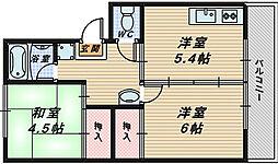 大阪府堺市南区原山台1丁の賃貸マンションの間取り