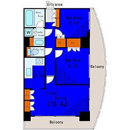 JR山手線 大崎駅 徒歩3分の賃貸マンション 3階2LDKの間取り