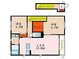 滋賀県米原市宇賀野の賃貸アパートの間取り