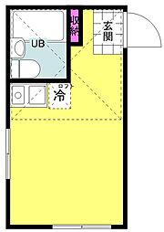 東急東横線 日吉駅 徒歩17分の賃貸アパート 1階ワンルームの間取り