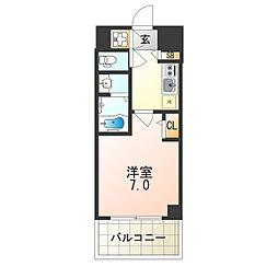 JR大阪環状線 弁天町駅 徒歩12分の賃貸マンション 11階1Kの間取り