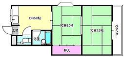 大阪府枚方市磯島茶屋町の賃貸アパートの間取り