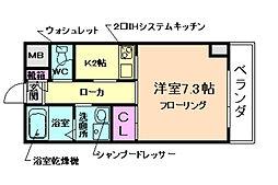 阪急宝塚本線 池田駅 徒歩1分の賃貸マンション 9階1Kの間取り