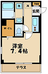 レラ武蔵新城 1階1Kの間取り