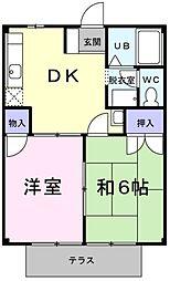 埼玉県草加市稲荷3の賃貸アパートの間取り