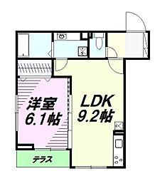 JR中央線 豊田駅 徒歩24分の賃貸アパート 1階1LDKの間取り