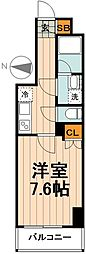 GENOVIA隅田川west sky garden 2階1Kの間取り
