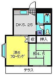 神奈川県横浜市磯子区中原2丁目の賃貸アパートの間取り