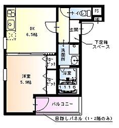 阪急神戸本線 十三駅 徒歩10分の賃貸アパート 1階1DKの間取り