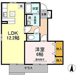 愛知県豊橋市忠興1丁目の賃貸アパートの間取り