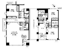 東京都渋谷区猿楽町の賃貸マンションの間取り